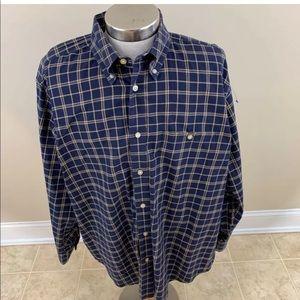 Orvis Mens Oxford Shirt Blue White Long Sleeve